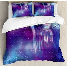 Ambesonne Fantasy Psychedelic Northern Starry Sky with Spirit of A Wolf Aurora Borealis Display Duvet Cover Set Size: King Ruffle Bed Skirts, Ruffle Bedding, Duvet Bedding Sets, Pretty Bedroom, Dream Bedroom, Bedroom Sets, Bedroom Decor, Galaxy Bedroom, Ty Dye