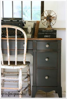 Desk painted in Little Billy Goat's Old Pickup.                                                                                                                                                                                 More