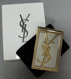 Yves Saint Laurent - Miroir de Sac 'YSL' - Métal Doré - Vintage