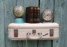 DIY Upcycled Repurposed Vintage Ivory White Aero Pak Upcycled Suitcase Luggage Wall Shelf