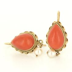 Vintage 14k Yellow Gold Coral Pearl Drop Earrings Estate Fine Jewelry Pre Owned $469
