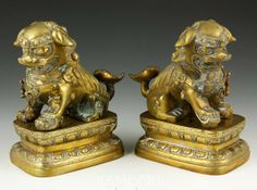CHINESE FOO DOGS | 7170: Pair of Chinese Brass Foo Dogs : Lot 7170
