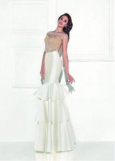 Stunning Tulle & Satin Bateau Neckline Mermaid Evening Dresses With Beads & Rhinestones