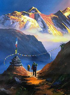 Mount Everest South View Nepal Himalayas Original Painting - New Ideas Watercolor Landscape, Landscape Paintings, Watercolor Paintings, Original Paintings, Impressionist Landscape, Watercolour, World Famous Painters, Acrylic Painting Canvas, Canvas Art