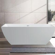 "Vanity Art 59"" x 30"" Freestanding Soaking Bathtub & Reviews | Wayfair Deep Tub, Modern Bathroom, Bathroom Ideas, Bathroom Organization, Bathroom Renovations, Bathroom Tubs, Condo Bathroom, Relaxing Bathroom, Bathroom Updates"