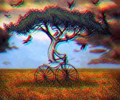 Tree on a bike in a field on acid bitch