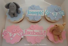 Christening Cupcakes by Cupcake Creations by Cassandra, via Flickr Love these! Christening Cupcakes, Pretty Cupcakes, Decorating Cakes, Baby Cakes, Gender Reveal, Cake Ideas, Shower Ideas, Fondant, Baby Shower