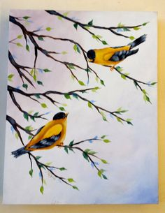 Yellow Birds. 11x14 box canvas with branches by DianeTrierweiler