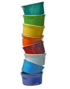 Fiestaware! cute ramekins in all these colors except cream instead of white and I also need chocolate, plum and evergreen