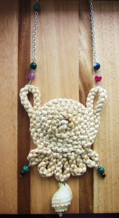 """ Purse Necklace "" Shell , cotton , agate gemstones , crystals & silver plated chain """