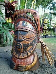 Squid Abelam PNG tiki mug by Gecko Tiki Hawaii, Blue Hawaii, Tiki Hut, Tiki Tiki, Tiki Faces, Tiki Bar Decor, Tiki Lounge, Maori Designs, Tiki Mask