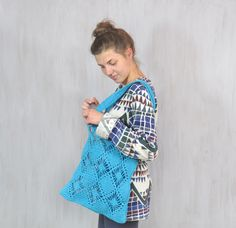 Crochet Beach Bag in Turquoise Blue Crochet Cotton Tote Bag Big - pinned by pin4etsy.com