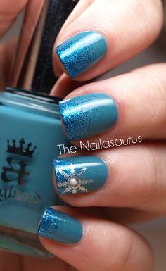 Blue Glitter Snowflake Nails | - Christmas Nail Art