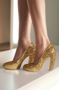 These would definitely make memorable bridal shoes! Nothing beats gold glitter! Miu Miu