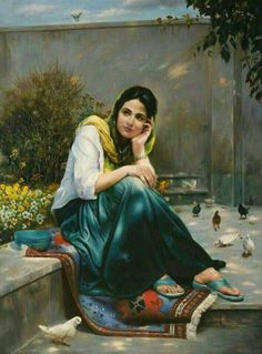 Mitra Shadfar This is extra ordinary beautiful art I can't describe Persian Girls, Indian Art Paintings, Iranian Art, Painted Ladies, Jolie Photo, Woman Painting, Islamic Art, Beautiful Paintings, Female Art