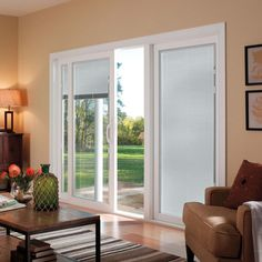 Triple Pane Sliding Glass Door With Blinds