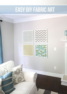 DIY fabric art tutorial on iheartnaptime.com... such an easy and inexpensive way to decorate your walls! #hgtvhomemagic #homedecor