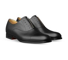Hermes men's derby shoe in calfskin, leather sole, can be worn with or without laces  Laces sold separately