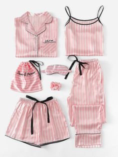 Shop Plus Letter Embroidered Striped Satin PJ Set online. SHEIN offers Plus Letter Embroidered Striped Satin PJ Set & more to fit your fashionable needs. Cute Sleepwear, Sleepwear Women, Pajamas Women, Lingerie Sleepwear, Loungewear, Nightwear, Lingerie Sets, Luxury Lingerie, Sexy Lingerie