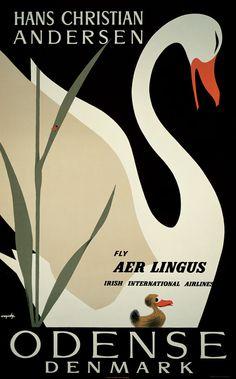 "DENMARK - Odense (Andersen's ""Ugly Duckling"" theme) Aer Lingus Irish Airline #Vintage #Travel"