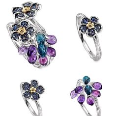 """Morphée Joaillerie. The """"Forget-Me-Not"""" stackable rings : 3 types that can be combined in an infinite amount of ways."""