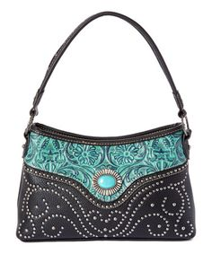 Look at this #zulilyfind! Black & Turquoise Floral Leather Shoulder Bag #zulilyfinds
