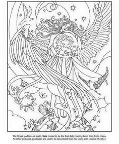 Gaia Angel Coloring Pages, Coloring Pages To Print, Colouring Pages, Printable Coloring Pages, Adult Coloring Pages, Coloring Sheets, Coloring Books, Celtic Warriors, Angel Crafts