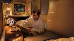 First Class on Emirates buys a wide, flat seat inside a well-appointed private cabin.