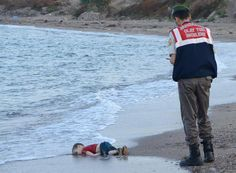 This photo of a very young Syrian refugee who drowned while trying to get into Europe went viral representing the current problem of the Syrian War. When this photo was released into the internet it caused a lot of questions with the ethical issues of showing the dead body of a young boy.