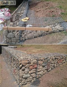 LOW COST Stone gabion baskets for retaining walls Gabion Retaining Wall, Building A Retaining Wall, Landscaping Retaining Walls, Sloped Backyard, Backyard Patio, Backyard Landscaping, Landscaping Edging, House Landscape, Landscape Design