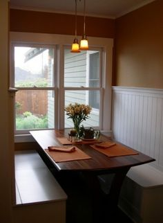 Breakfasts at this table or even just a cup of coffee would be amazing. Beadboard + built in booth seating
