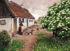 Summer Morning Feeding the Chickens ~ Hans Andersen Brendekilde ~ (Danish: 1857-1942)