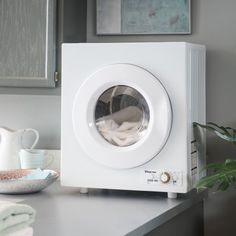 Compact Electric Dryer, White Image 3 of 11 Small Washer And Dryer, Portable Washer And Dryer, Mini Washing Machine, Portable Washing Machine, Dryer Machine, Washing Machines, Rv Living, Tiny Living, Small Space Living