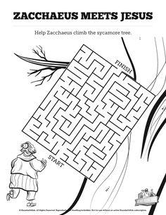 zacchaeus bible maze sunday school activity bible worksheet new testament activities. Black Bedroom Furniture Sets. Home Design Ideas