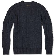 Beams Plus Cable Crew Sweater (Navy)