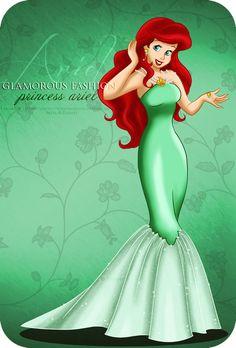 DeviantArt: More Like Vintage Princess - Ariel by tiffanymarsou Ariel Disney, Punk Disney, Disney Fan Art, Princesa Ariel Da Disney, Disney Artwork, Disney Princess Fashion, Disney Princess Dresses, Barbie Princess, Princess Pics