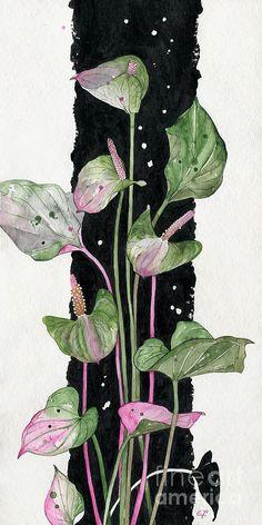 Flower Anthurium 02 Elena Yakubovich Painting  - Flower Anthurium 02 Elena Yakubovich Fine Art Print