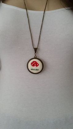 Cross stitch necklace, Mushroom necklace, pendant, jewelry, Valentine's Day gift, embroidery necklace, textile necklace, gift for her