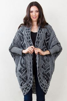 Brandy Cardigan Sweater*  Comfy long sleeve over-sized cardigan with dolman sleeves. The black and white motif is subtle, yet adds depth to the look. Pair it with a simple top and jeans for a cute and casual look. Features side pockets.  Free shipping. Free returns.