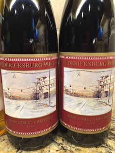 Fredericksburg Winery: Main Street Christmas Wine. This is a special wine made for the holiday season. It is a sweet red spiced wine designed to be served warm. In Germany it is called Gluhwein.