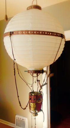 Steampunk lamp, steampunk air balloon, functional art, assemblage art.