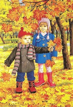 Autumn two brothers and sisters wall art full diamond embroidery new embroidery decoration diy diamond painting cross stitch Autumn Activities, Preschool Activities, Illustrations, Illustration Art, Autumn Scenes, Fall Crafts, Cute Kids, Art For Kids, Folk Art