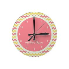 Pink Lemonade Chevron Personalized Kid's Bedroom Wallclock. Featured on daily blog