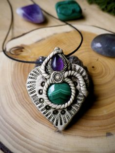 Ornate heart shape polymer clay pendant with by nouveaushades, $44.00