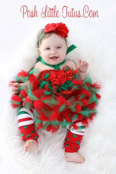 Santa's Little Diva Baby Couture Feather Red & Green Tutu Dress - 3190 @Elaine Franklin-Bransford