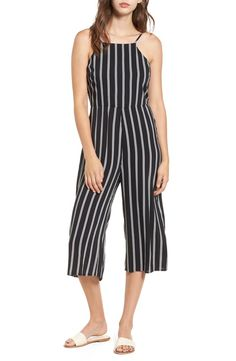 99b5a4986a07 Shorts - Monochrome Stripe Belted Jumpsuit In Black