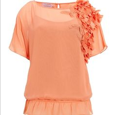 """Ted baker """"teren"""" blouse 3D Appliqued Light Orange *Butterfly* Top he fabric is a semi~sheer polyester chiffon in a beautiful light orange shade and comes with a separate camisole to wear under if desired.  It fastens with a feature gold metallic butterfly at the back of the neckline.  The hemline has rows of light elastication for a comfortable and flattering fit. It comes with a peach silky camisole to wear underneath and there are press~studded loops on the inner shoulders to keep it in…"""