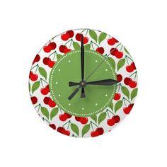 Fun Retro vintage look Cherries Clocks #decor #kitchen:
