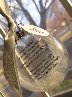 Heavens Angel Feather Ornament Photo and or Poem Keepsake - Large Over 3 Inches on Etsy, $24.98