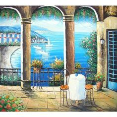 Hand made oil painting on canvas, Seaside terrace